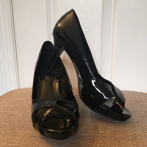 Studio Paolo Black Patent Leather Peep Toe Heels